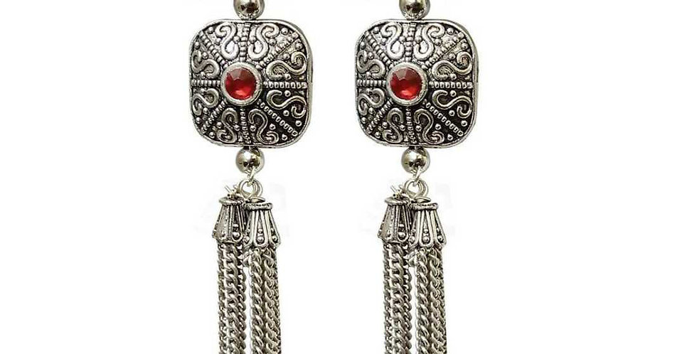 Traditional German Silver Oxidized long Earrings with Red Stone for Girls