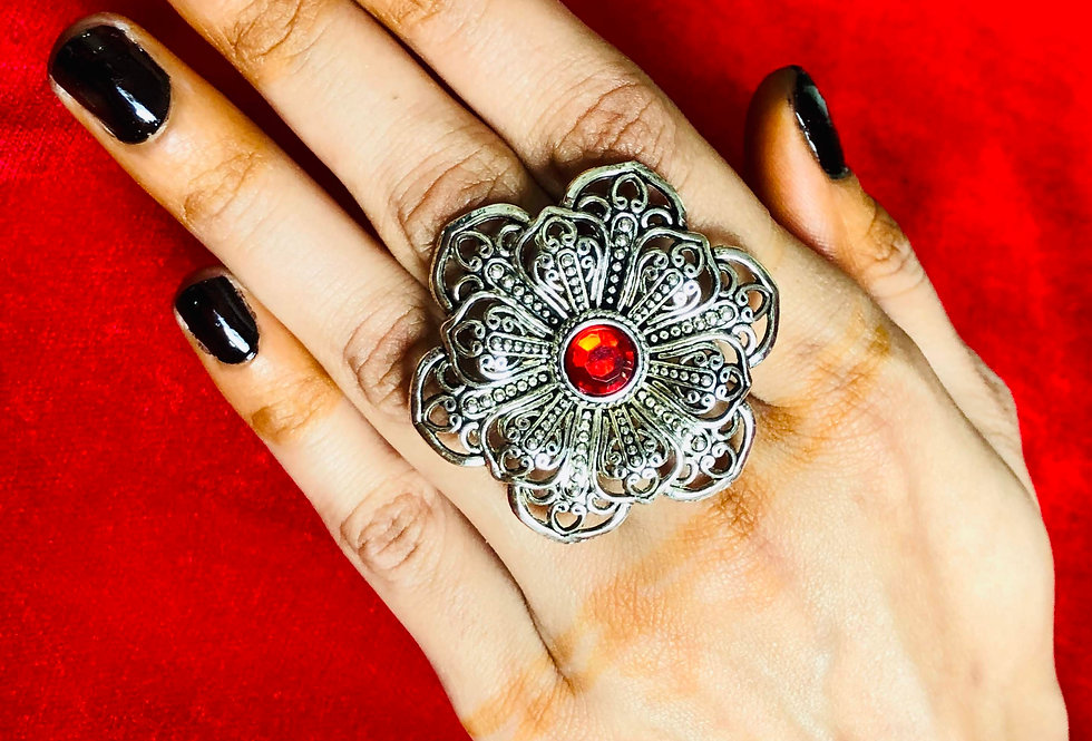 Designer Oxidised Red Stone Free Size Ring