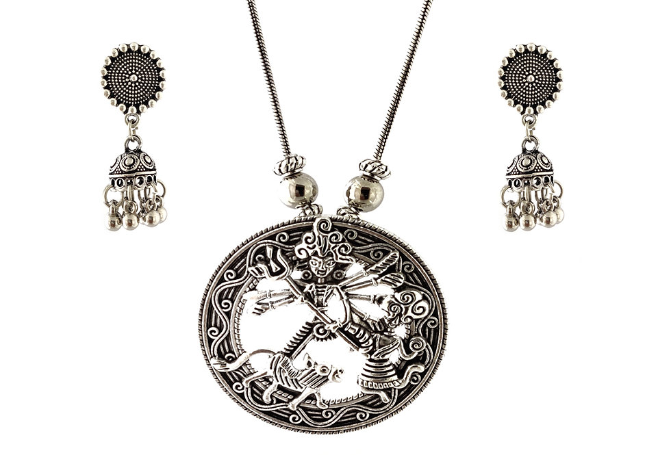 Oxidized Chain Necklace Set in Navratri Special Lord Durga Pendent  with  Jhumka