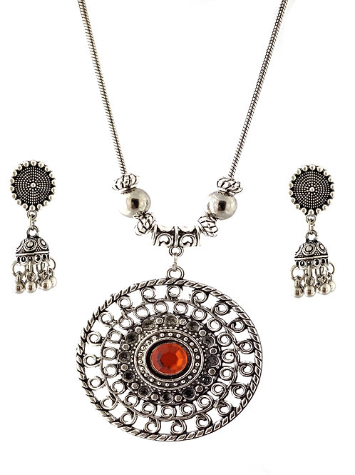 Oxidized Chain Necklace Set Red Stone Pendent with  Jhumka