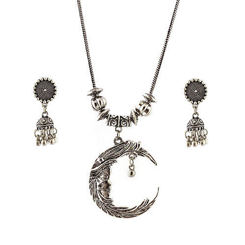Oxidized Chain Necklace Set in Stylish Half Moon Pendent  with  Jhumka
