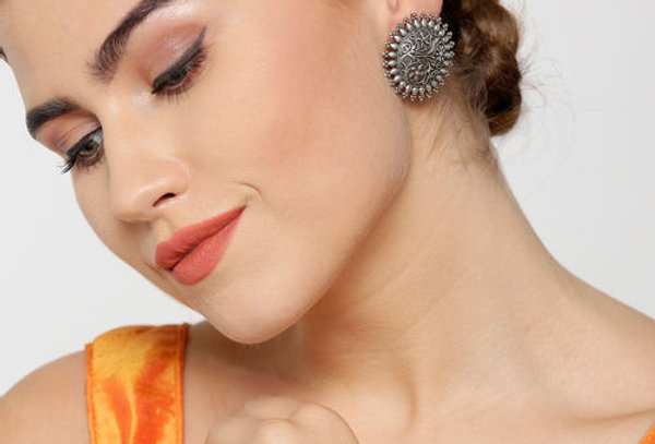 Traditional Oxidized Stud Earrings With Round Floral Design