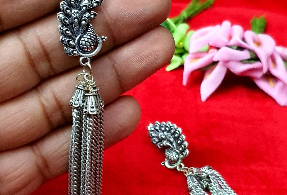 Designer Peacock Shape German Silver Chain Earring , Oxidized  Earrings