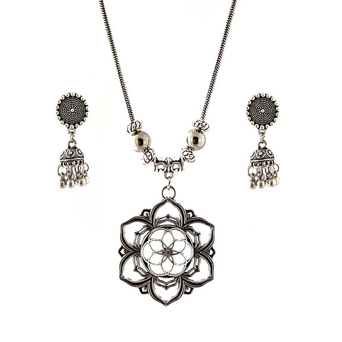Oxidized Chain Necklace Set in Light Weight Flower Pendent with  Jhumka