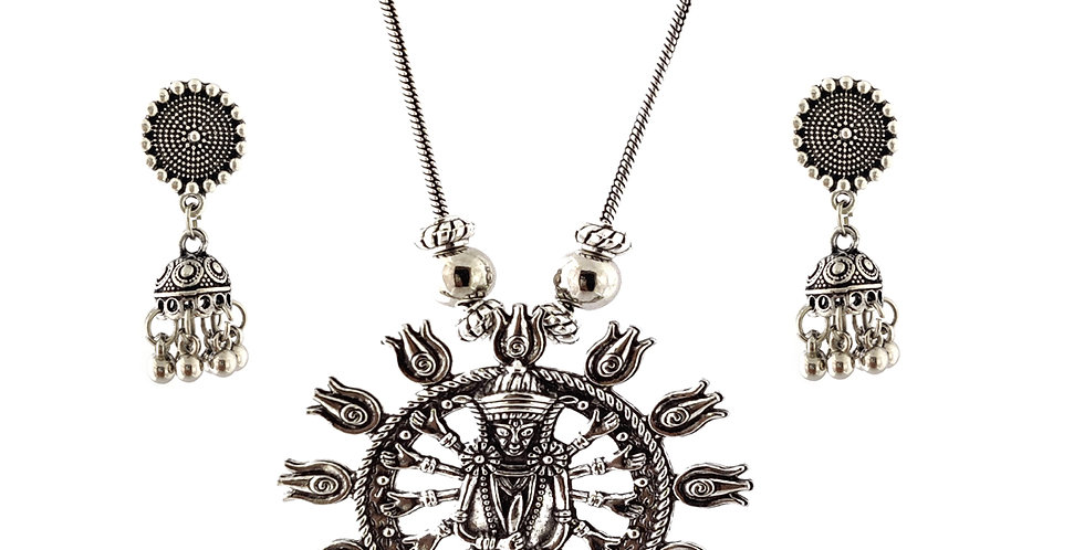 Oxidized Chain Necklace Set in Stylish Lord Durga Pendent  with  Jhumka