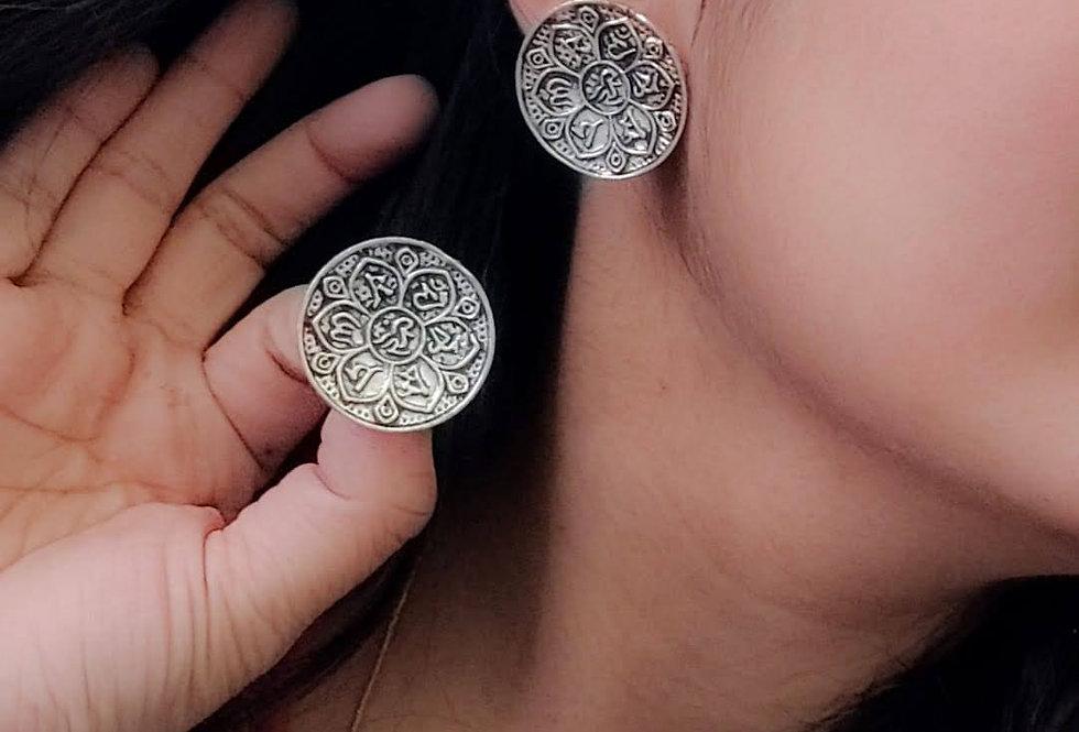 Oxidized Round Stud Earrings | Traditional German Silver Earrings