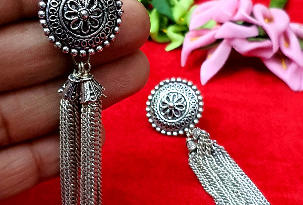 Peacock Shape German Silver Chain Earring , Oxidized Hanging Earrings