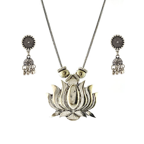 Oxidized Chain Necklace Set in Lotus Style with  Jhumka