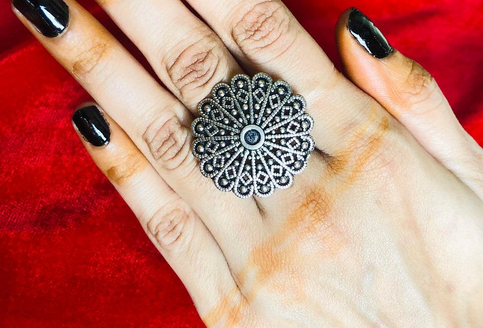 Traditional German Silver Flower Design Adjustable Finger Ring