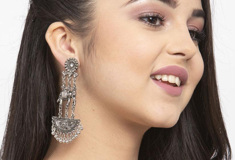 Oxidized Elephant Stud Earrings | German Silver Dangle Drop Stud Earrings