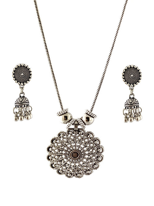 Oxidized Chain Necklace Set in Traditional Pendent  with  Jhumka
