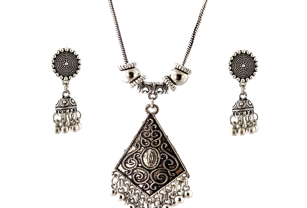 Oxidized Chain Necklace Set in Stylish Unique Pendent  with  Jhumka