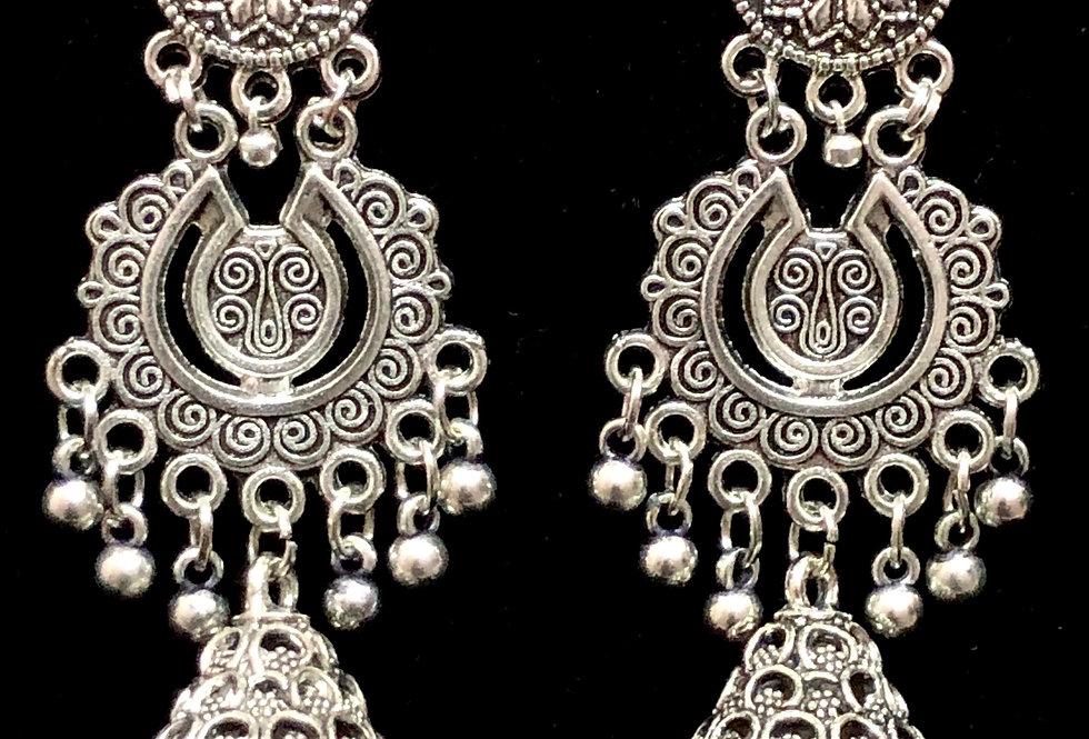 Oxidized Jhumki Earring in German Silver , Oxidised Silver Plated Earring
