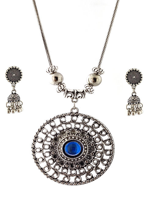 Oxidized Chain Necklace Set Blue Stone Pendent with  Jhumka