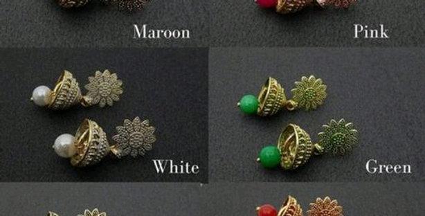 Golden Oxidized Jhumka Earrings in Meenakari work   Daily wear Oxidized Earrings