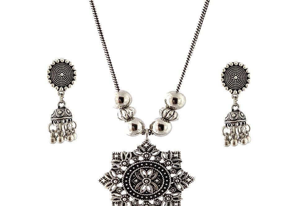 Oxidized Chain Necklace Set in Stylish Round Pendent  with  Jhumka