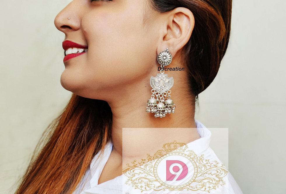 Designer Peacock Silver Oxidised Earrings for Girls