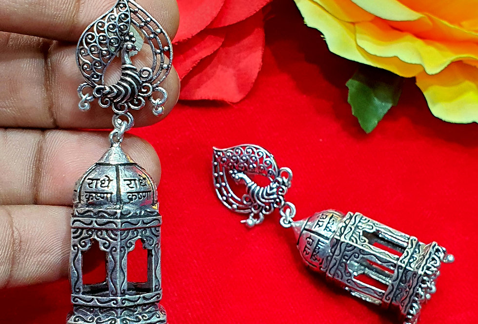 Temple Jhumka in Silver Plated Jewelry, Best Artificial Jhumka Earring