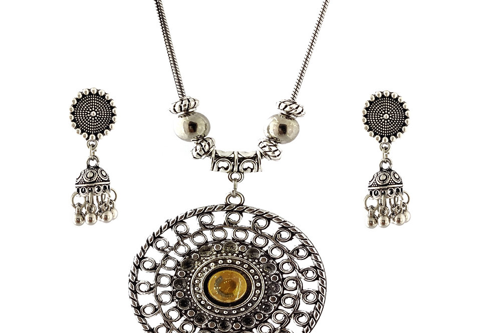 Oxidized Chain Necklace Set Yellow Stone Pendent with  Jhumka