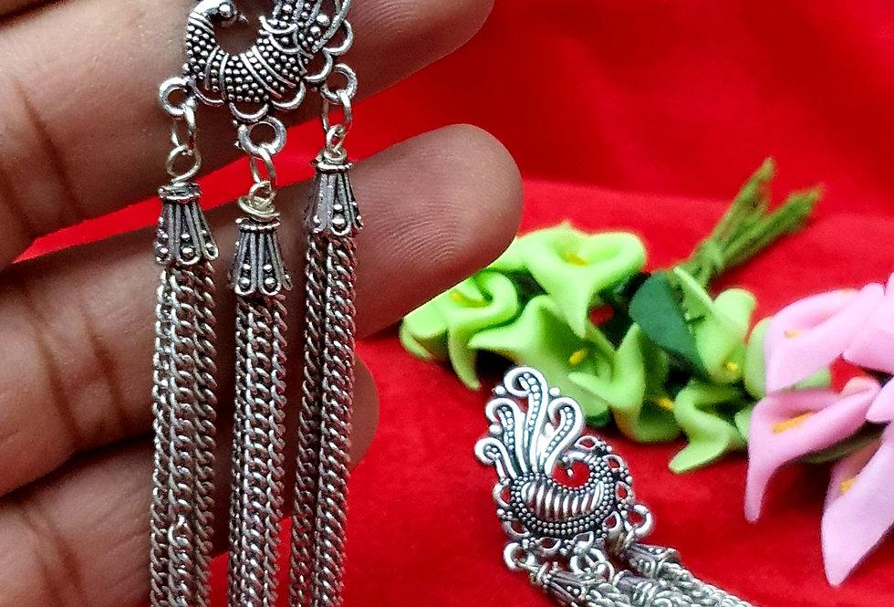 Circle Shape German Silver Chain Earring , Oxidized Hanging Earrings