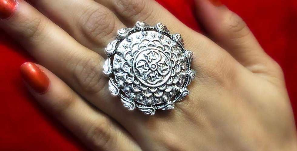 Floral Design Oxidized Rings Adjustable Size, Traditional Indian Style Ring