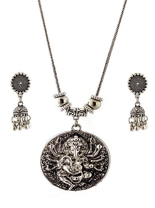 Oxidized  Necklace Set in Stylish Lord Ganesha Pendent  with  Jhumka