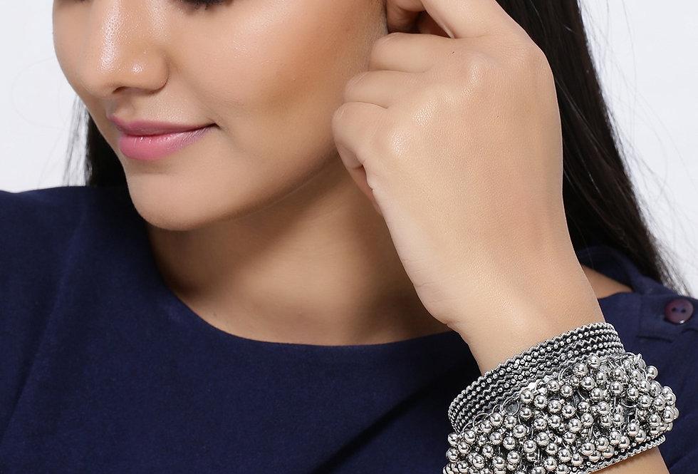 D9 Creation Oxidized Ghunghru Bracelets Handcuff  Free Size for Girls