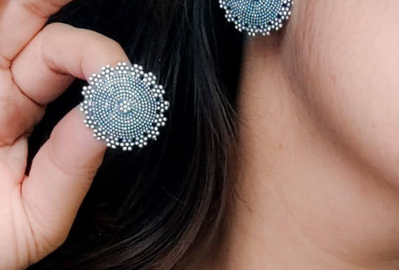 German Silver Oxidized Stud Earrings | Silver Plated Stud