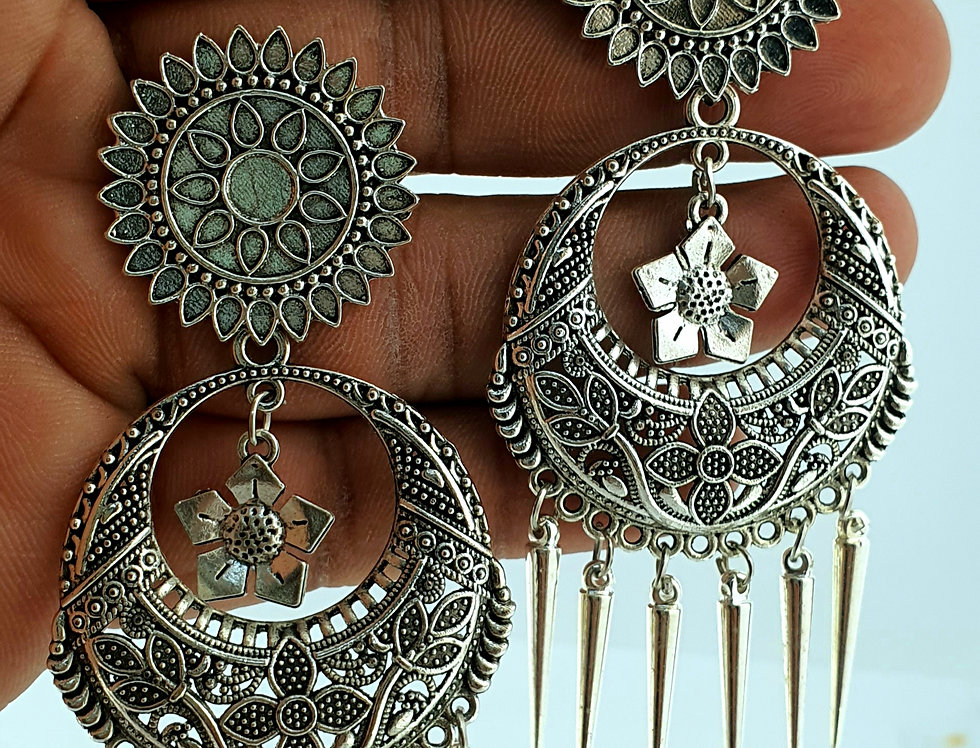 Silver Plated Elephant Style Jhumka Earring
