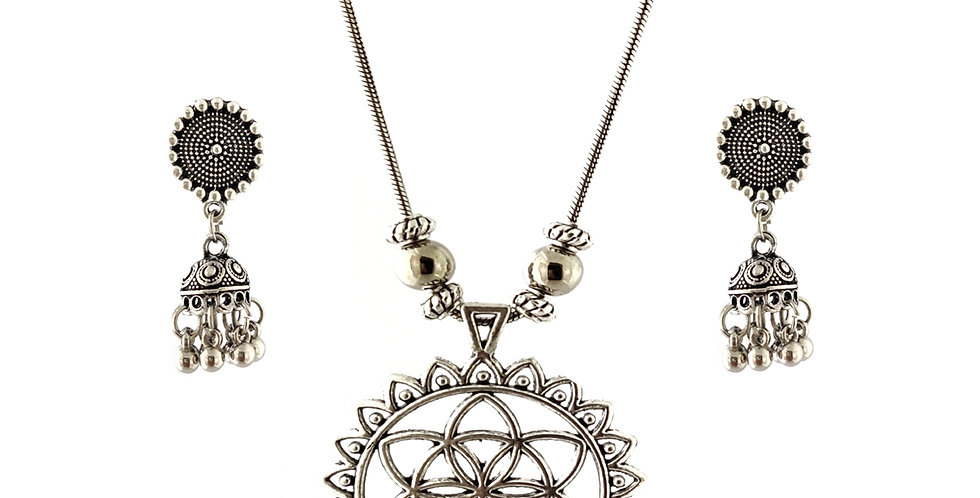 Oxidized Chain Necklace Set in Stylish Casual Pendent  with  Jhumka