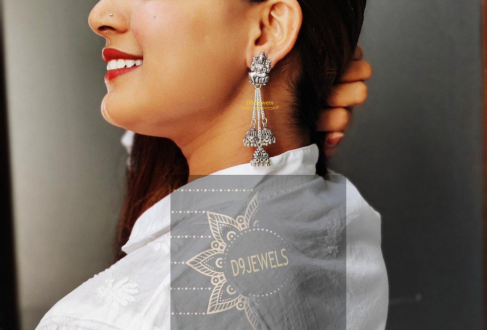 Oxidized Lord Ganesha Chain Jhumki Earring