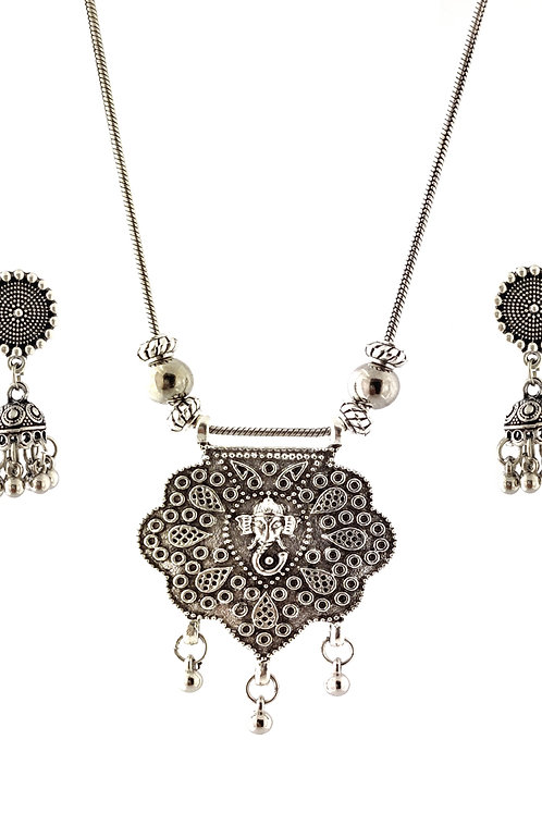 Oxidized Chain Necklace Set Ganesha Pendent with  Jhumka