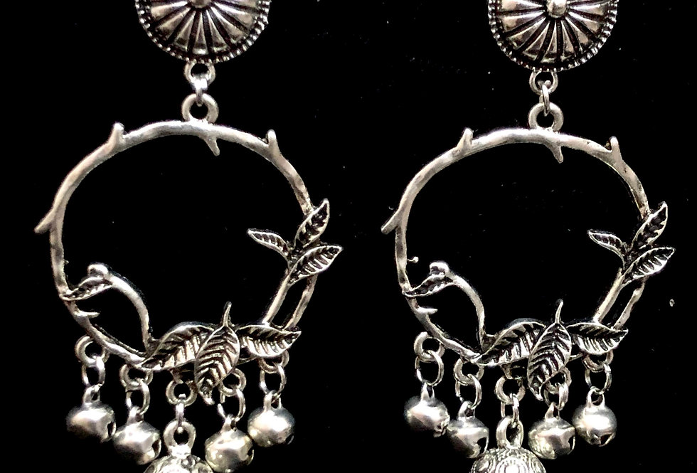 Oxidized Round Shape Leaf Style Earrings with Jhumki for Girls