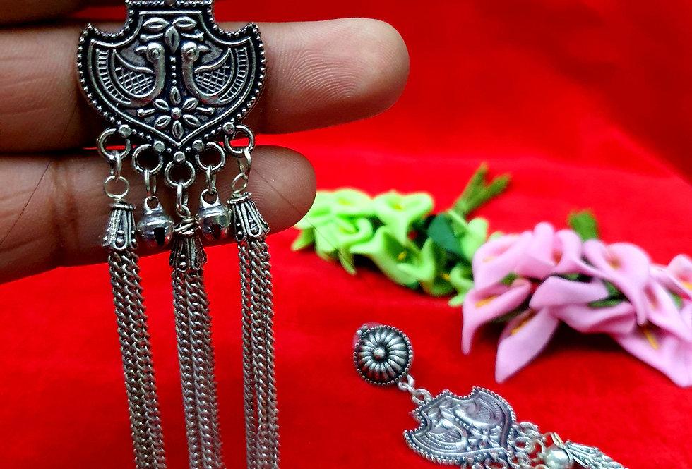 Flower Shape German Silver Chain Earring ,  Hanging Earrings