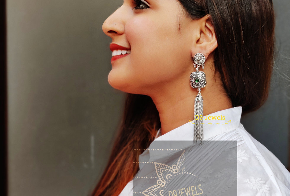 Light Weighted Silver Tone long chain earring