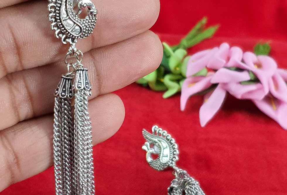 Silver Plated Round Shape German Silver Chain Earring ,  Hanging Earrings