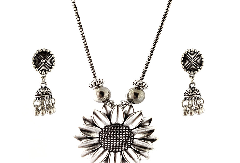 Oxidized Chain Necklace Set in Stylish Flower Round Shape Pendent  with  Jhumka