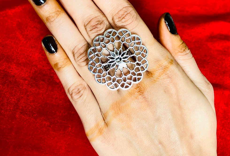 Light Weight Round Shape Flower Design |Silver Plated Adjustable Ring