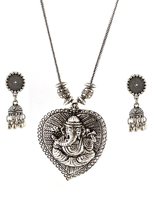 Oxidized Chain Necklace Set in Stylish Leaf Lord Ganesh Pendent  with  Jhumka