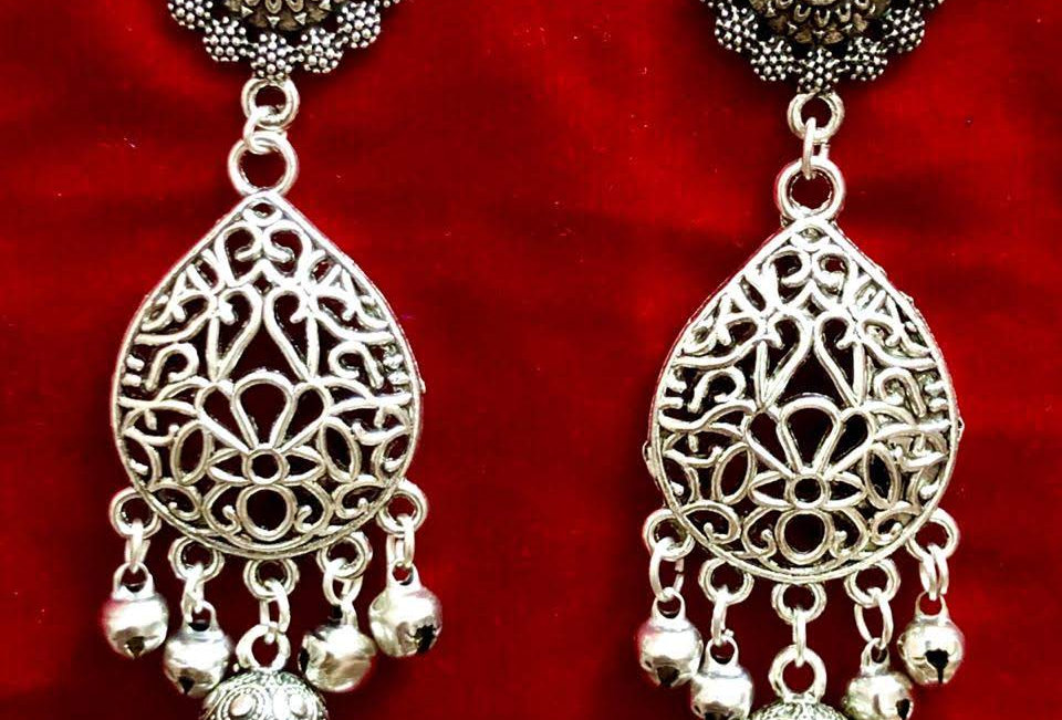 Drop Shape Oxidised Jhumka Jhumki Earrings