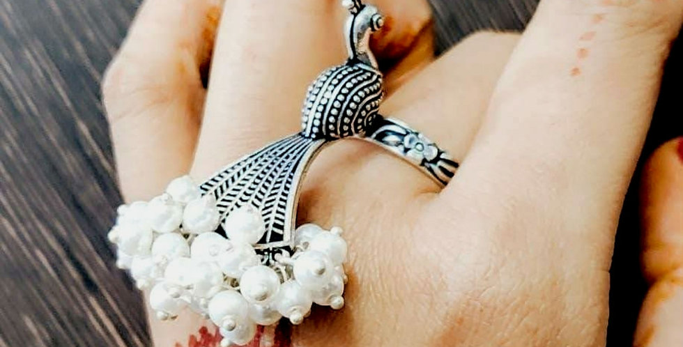 Oxidized Peacock Adjustable Ring with Pearl Beads Work for Girls