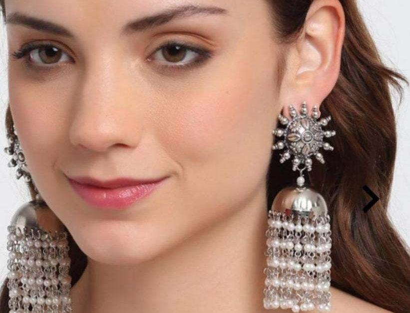 Oxidized Pearl Jhumka Stud Earrings | Traditional Oversize Jhumka Earrings