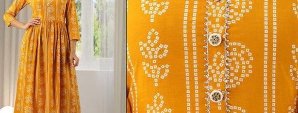 Rayon Fabric Kurti, Yellow Bandhej Style Kurta for Girls, Anarkali Kurti