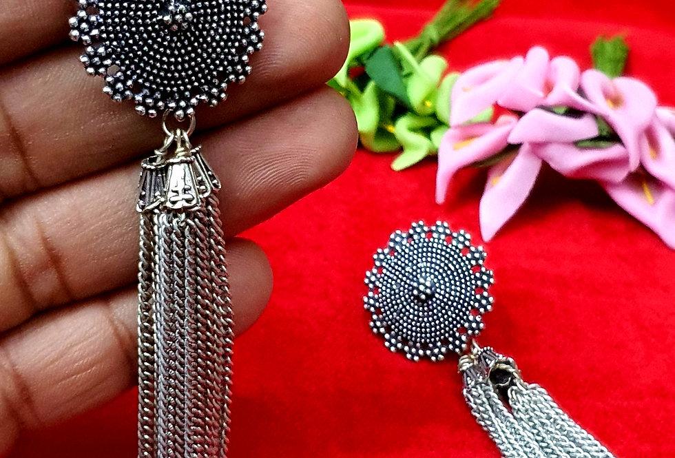Designer Round Shape German Silver Chain Earring , Oxidized  Earrings