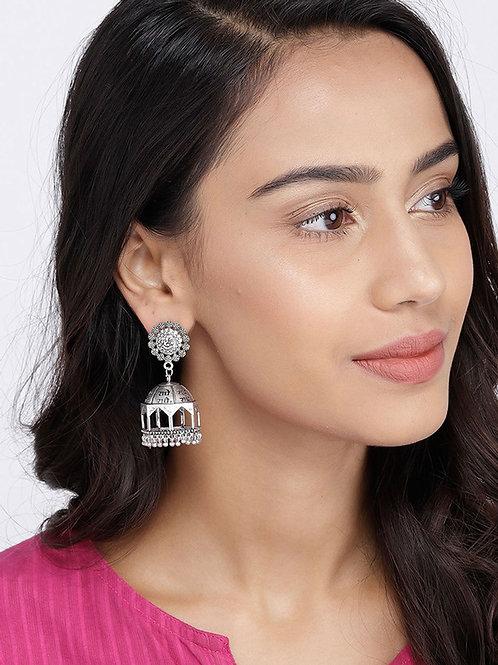 Oxidized Mandir Jhumka Earrings   Silver Plated Statement Jhumka