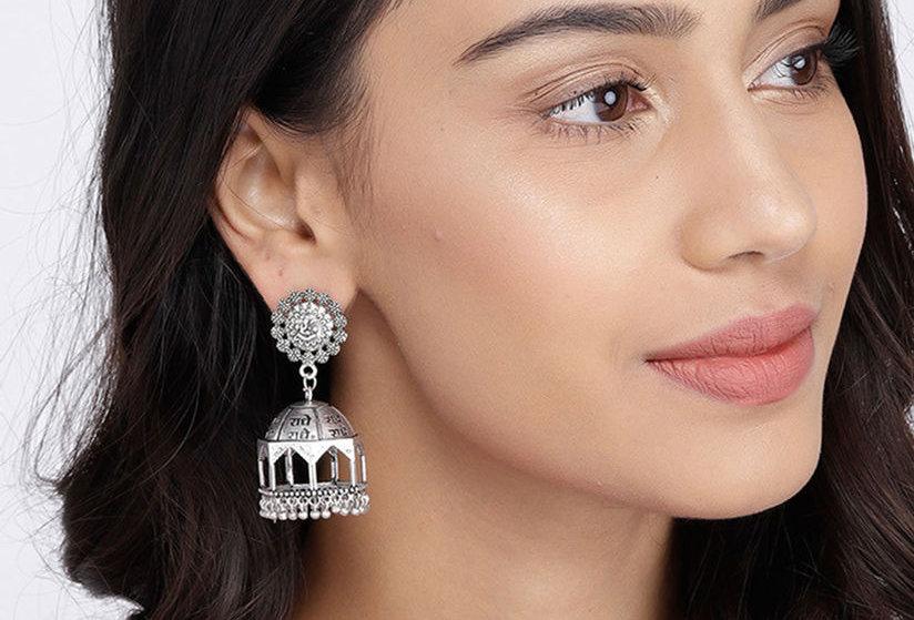 Oxidized Mandir Jhumka Earrings | Silver Plated Statement Jhumka