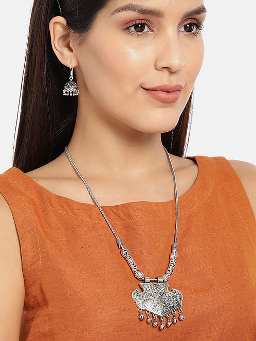 Oxidized Traditional Necklace Set with Jhumka Earring for Girls