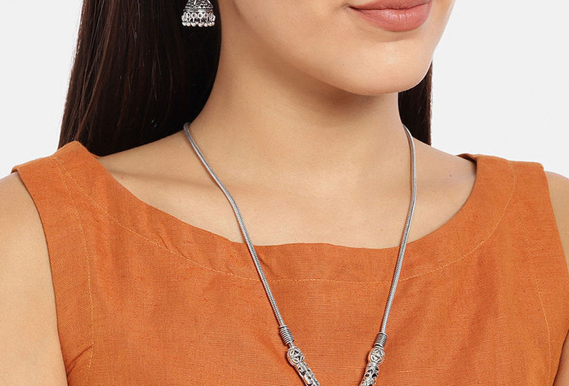 Oxidized German Silver Flower Necklace Pendent with Jhumka Earrings  Set