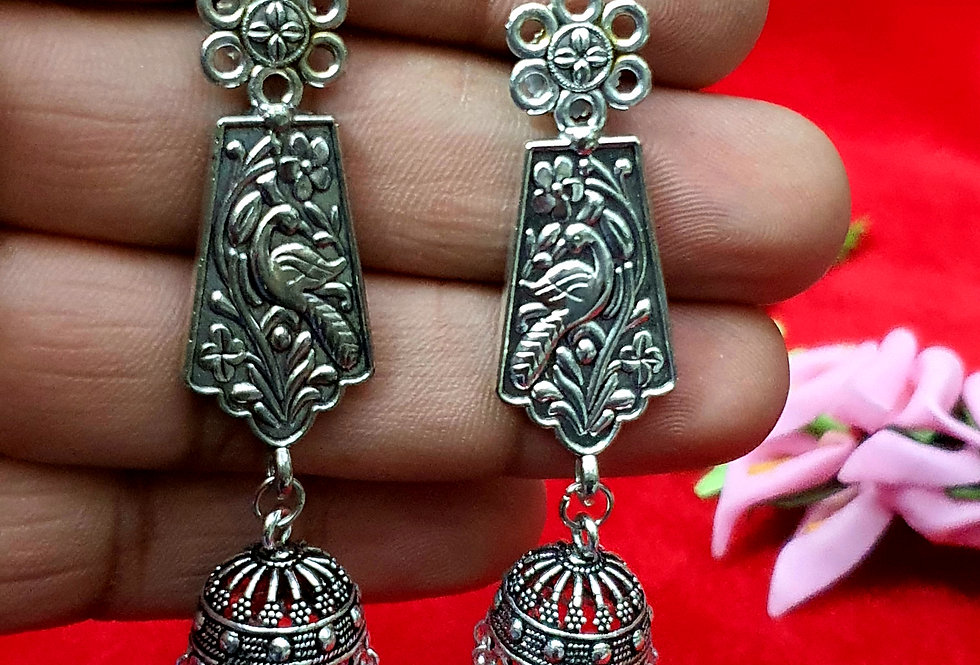 Antique Peacock Shape German Silver Chain Earring ,  Hanging Earrings