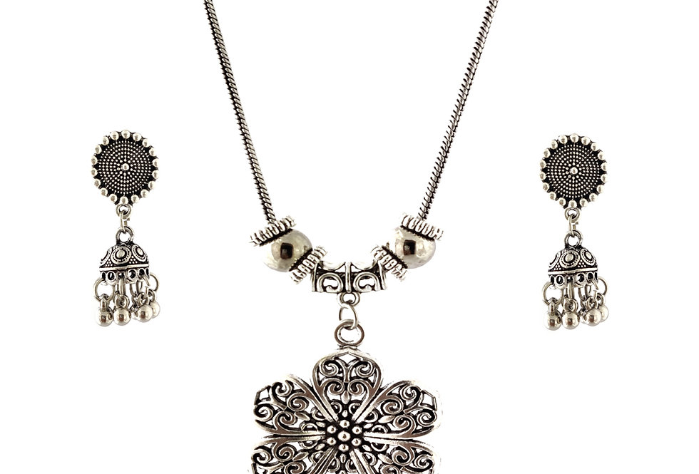 Oxidized Chain Necklace Set in Stylish Flower Pendent with  Jhumka